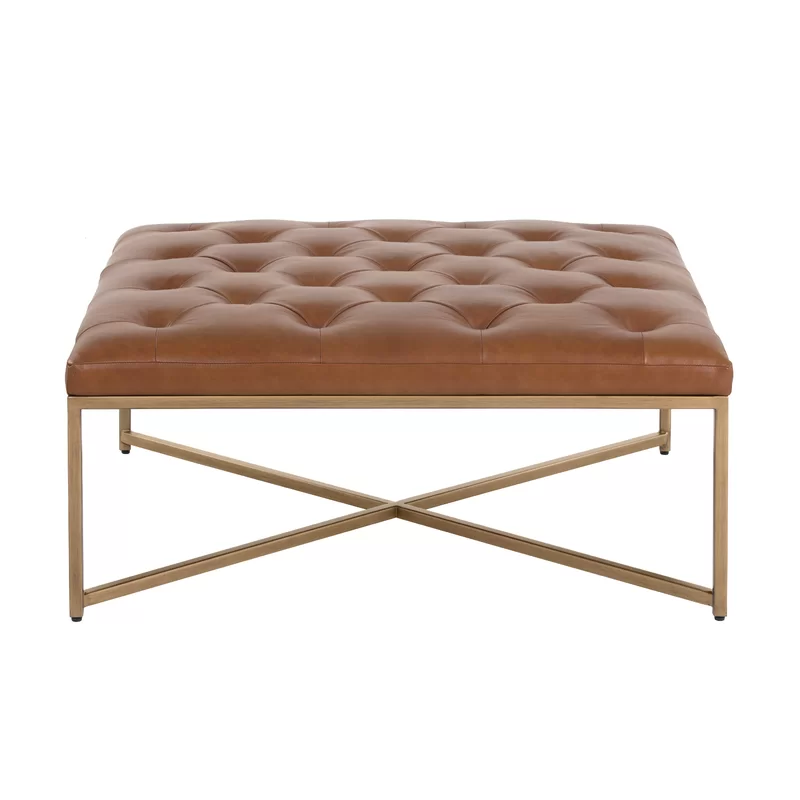 Everly Quinn Wynonna Square Leather Tufted Cocktail Ottoman Wayfair In 2020 Leather Ottoman Coffee Table Large Square Ottoman Leather Cocktail Ottoman