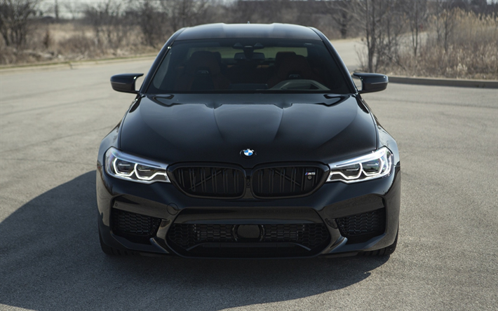 Download Wallpapers Bmw M5 2018 F90 Front View Led Lights New