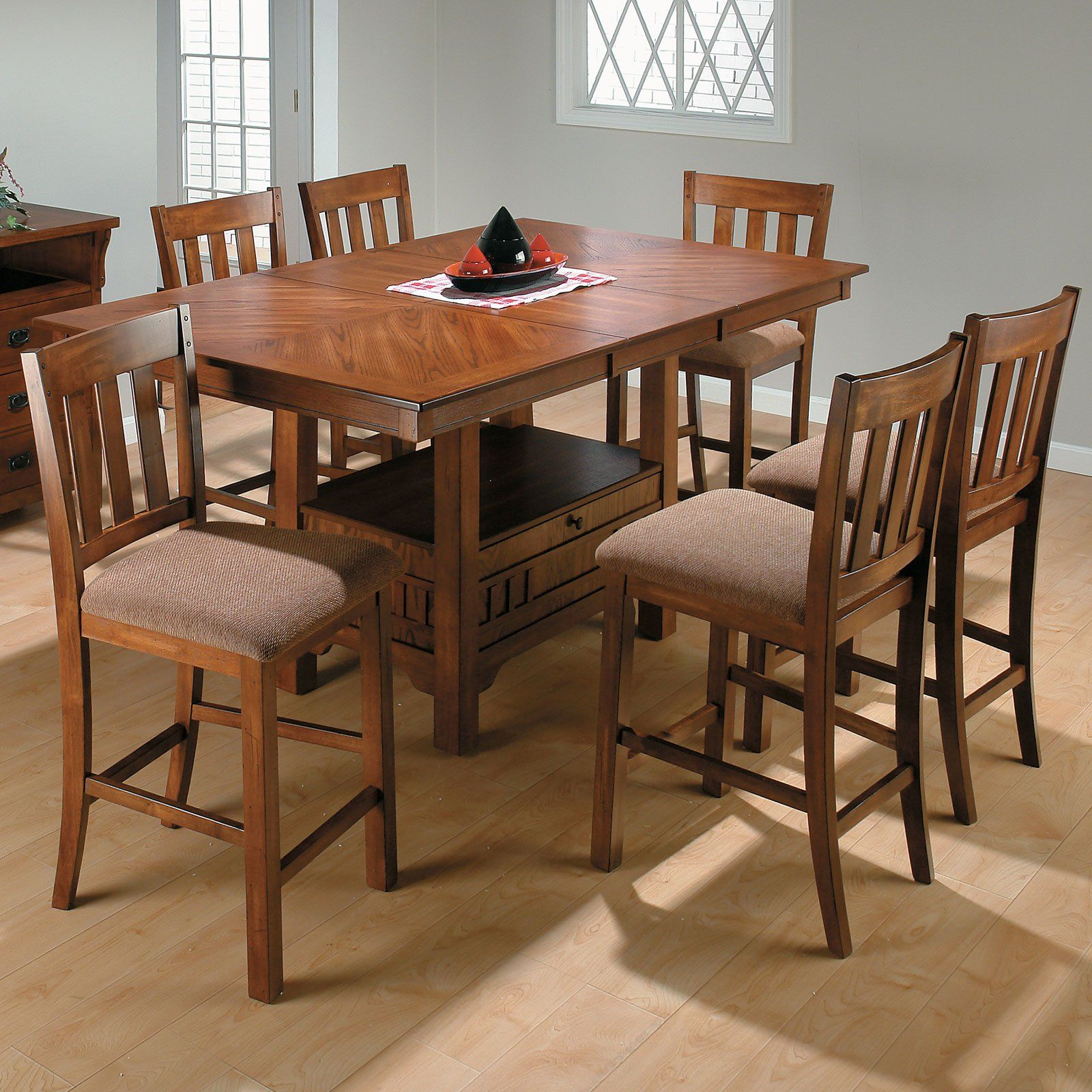 Square Dining Table With Storage Jofran Saddle Brown Rectangular Counter Height Table The