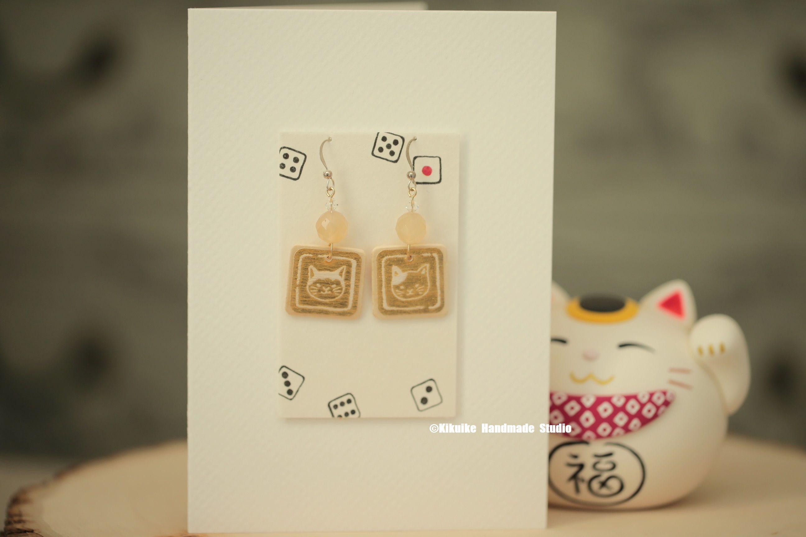 Japanese Style Cat EarringsGift For HerGift FriendGirlfriend Gift
