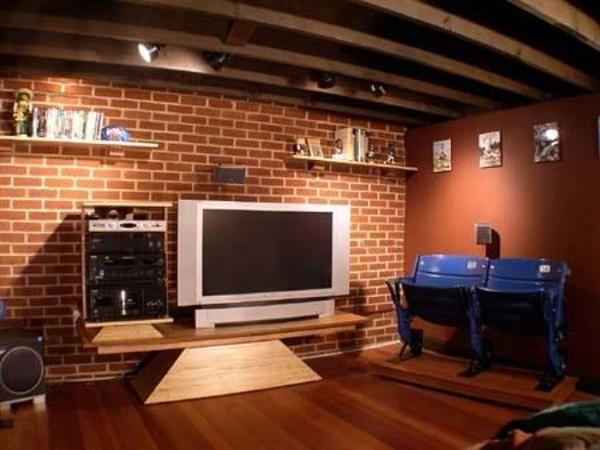 Real Brick Wall Interior Panels And Lcd Tv
