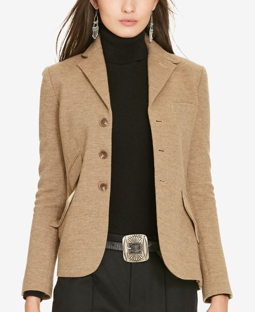 Taking Its Cues From Classic Hacking Silhouettes This Cotton And Wool Herringbone Jacket From Polo Ralph Laure Blazer Jackets For Women Hacking Jacket Jackets