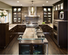 Delicieux Deep Chocolate Brown Cabinets With Crown Molding Add A Traditional Touch To  This Contemporary Kitchen Design