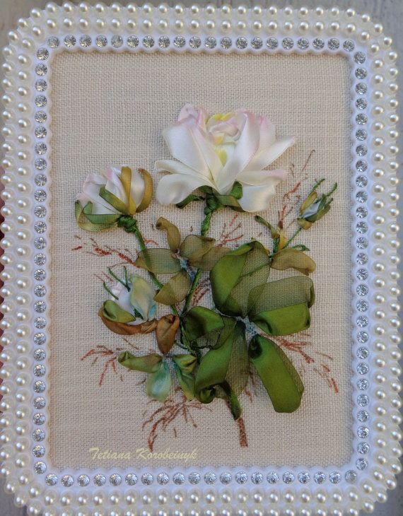 Small framed picture , Silk ribbon embroidery, roses, flowers, embroidered, pearls.