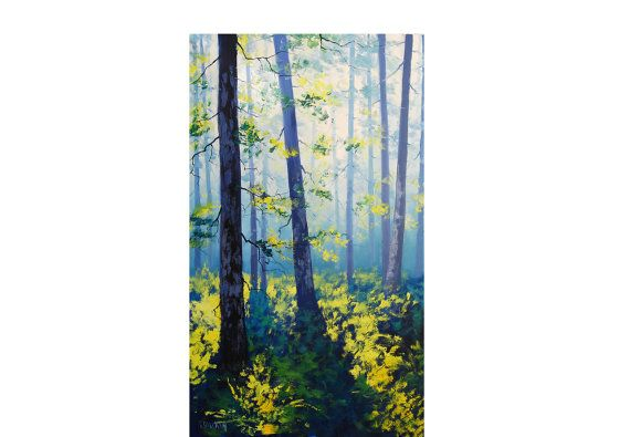 ORIGINAL OIL PAINTING Green Forest Painting Fine Art by  Graham Gercken