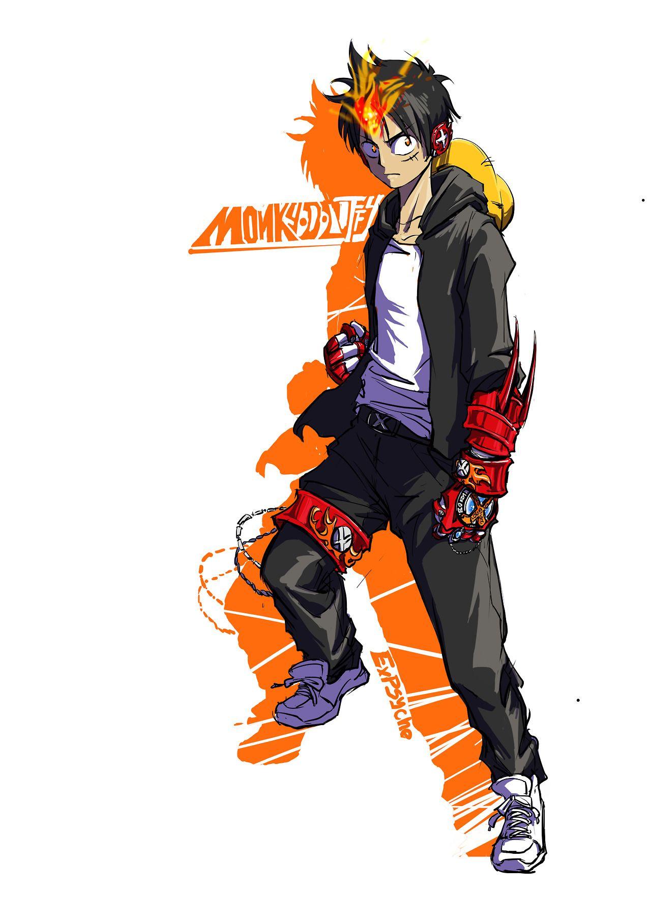 Monkey D Luffy One Piece Crossover One Piece Anime Reborn Katekyo Hitman