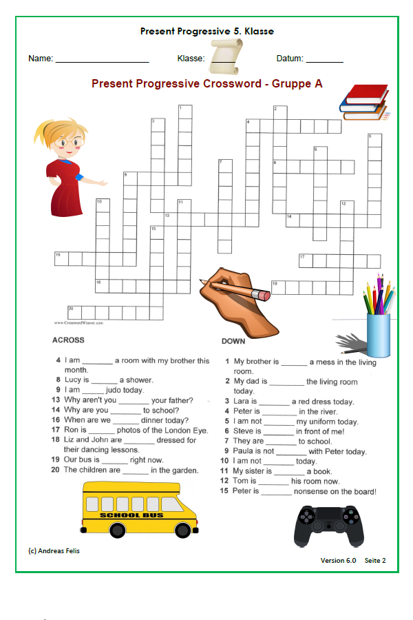 kostenlos crossword kreuzwortr tsel zum present progressive unterrichtsmaterial in den. Black Bedroom Furniture Sets. Home Design Ideas