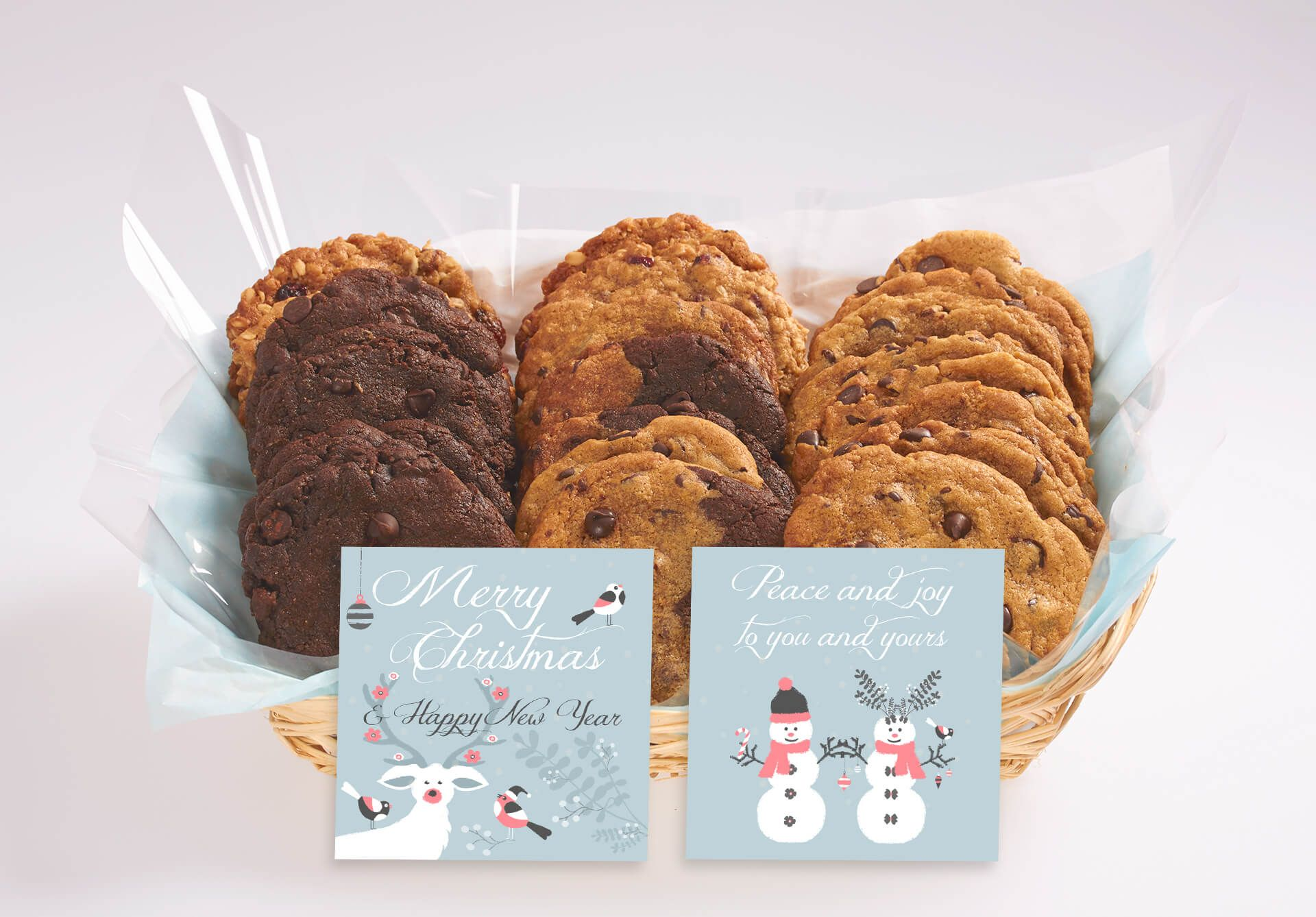 A Cute Christmas Gift Basket With Our Gourmet Cookies Cookie Gifts