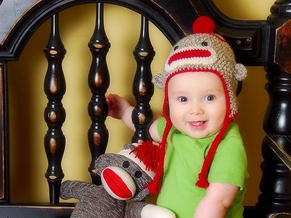 Sock Monkey Hat with Earflaps