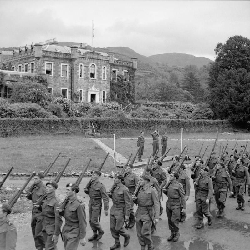 Free French commando troops undergoing training at Achnacarry House in Scotland.