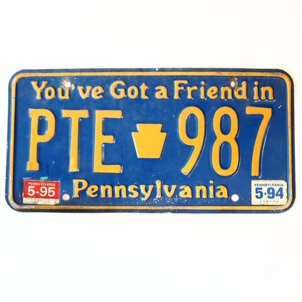 1995 Pennsylvania Friend License Plate PTE987 License