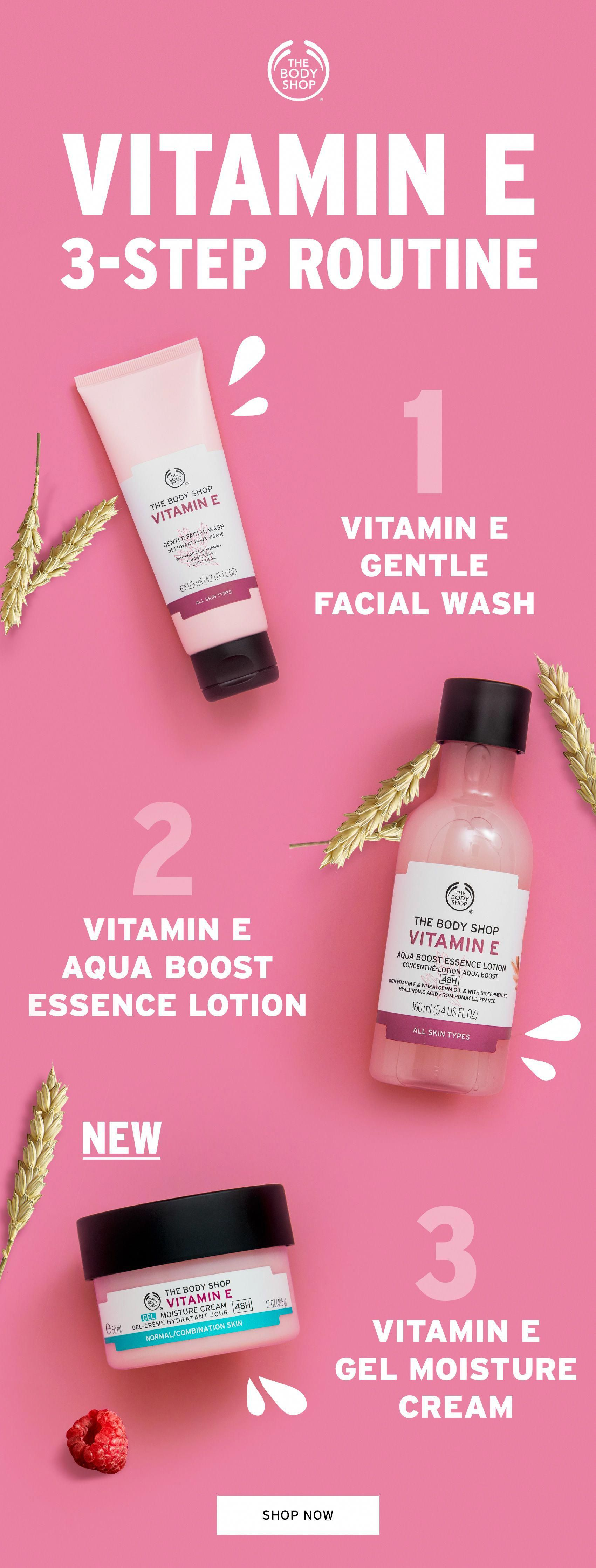If You Re Concerned About The Damaging Effects Of The Environment On Your Skin Our Vitamin E Collection Can Body Shop Skincare Body Shop At Home The Body Shop