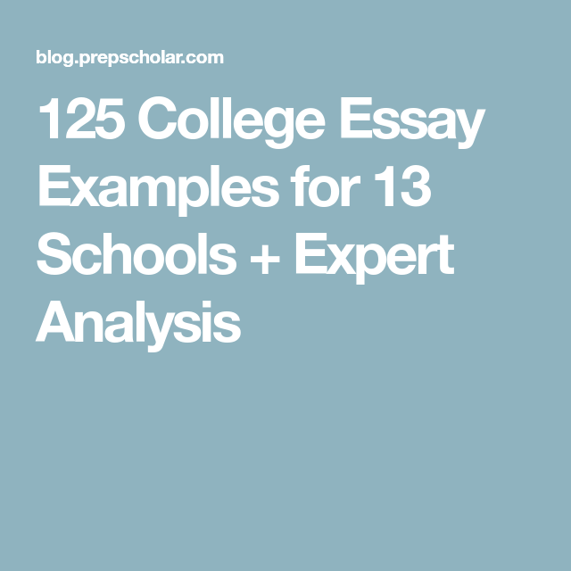 College Essay Examples For  Schools  Expert Analysis