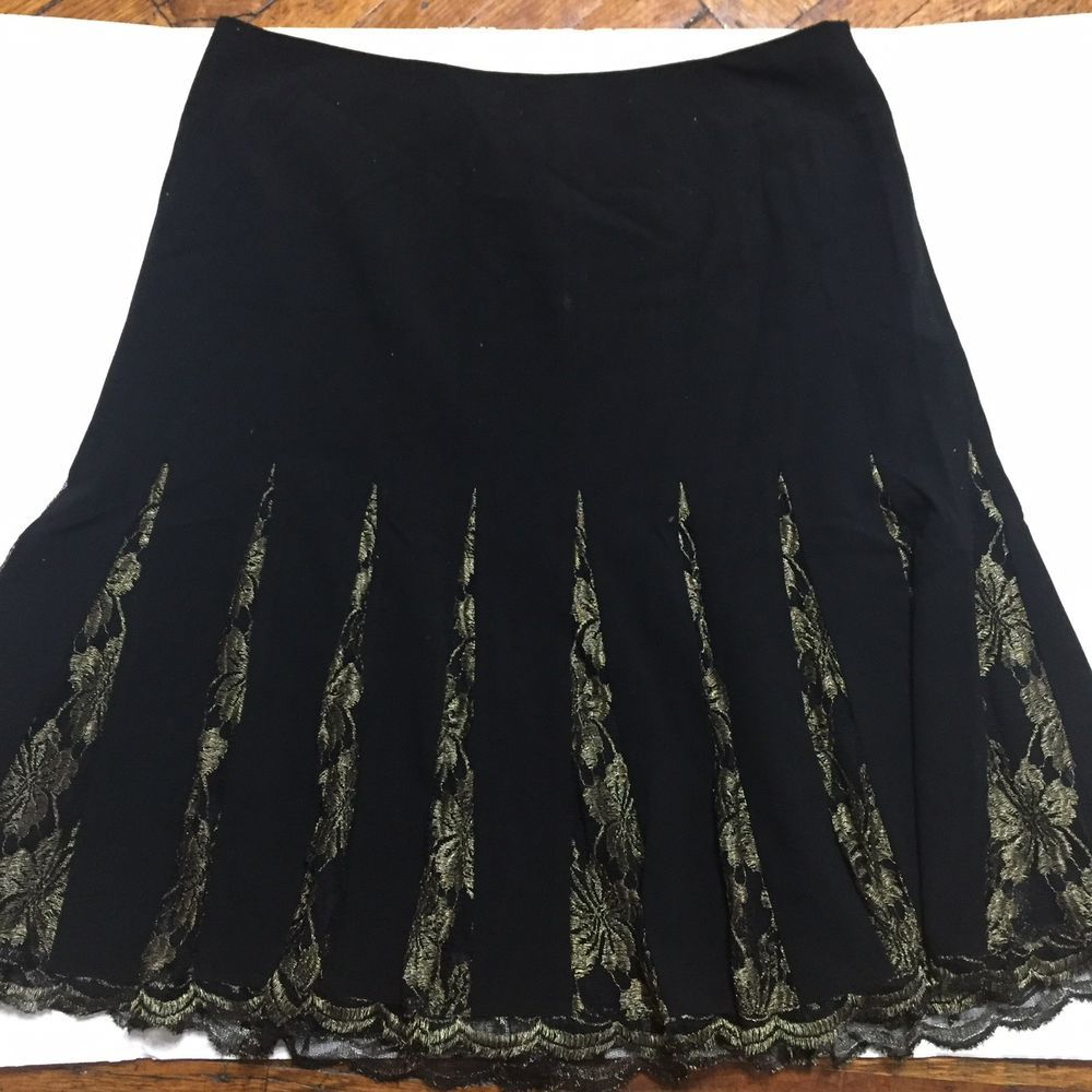 ffdcab518f Chelsea And Theodore Skirt Size 16 Womens Black Gold Lace Pleats A Line  #fashion #clothing #shoes #accessories #womensclothing #skirts (ebay link)