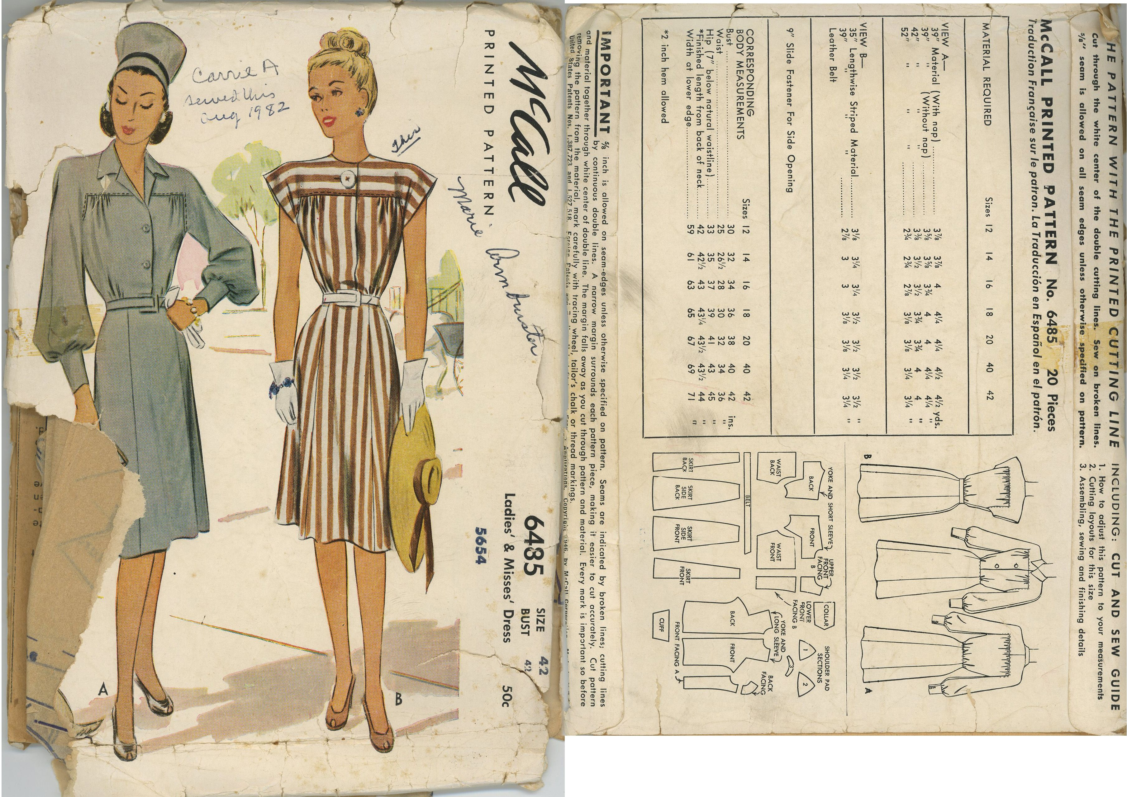 1940s (1946) Ladies & Misses' Day Dress  McCall 6485
