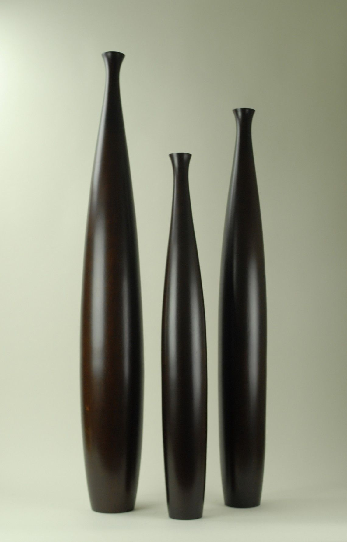 Modern Day Accents Wood Tall Brown Vases Set Of 3 7570 L Floor