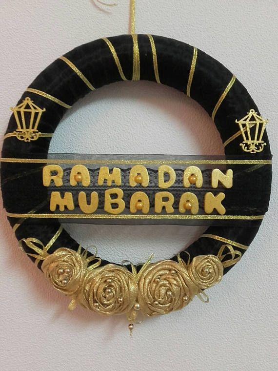 Black Golden Ramadan Mubarak Mesh Wreath Ramadan Deciorations Islamic Wreaths Diameter 28 Cm Ramadan Decorations Ramadan Crafts Ramadan Kareem Decoration