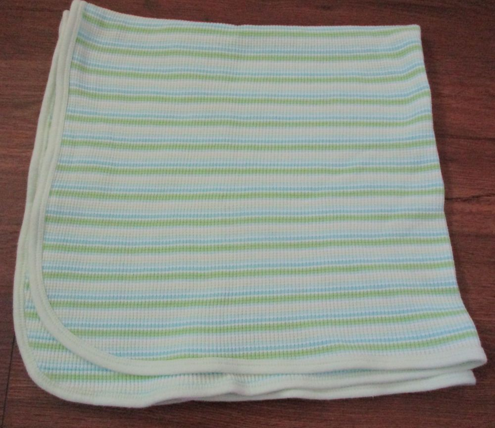 ced32b7ca0642 Vtg Gerber Baby Blanket Mint Green Blue White Striped Thermal 26x26  Gerber