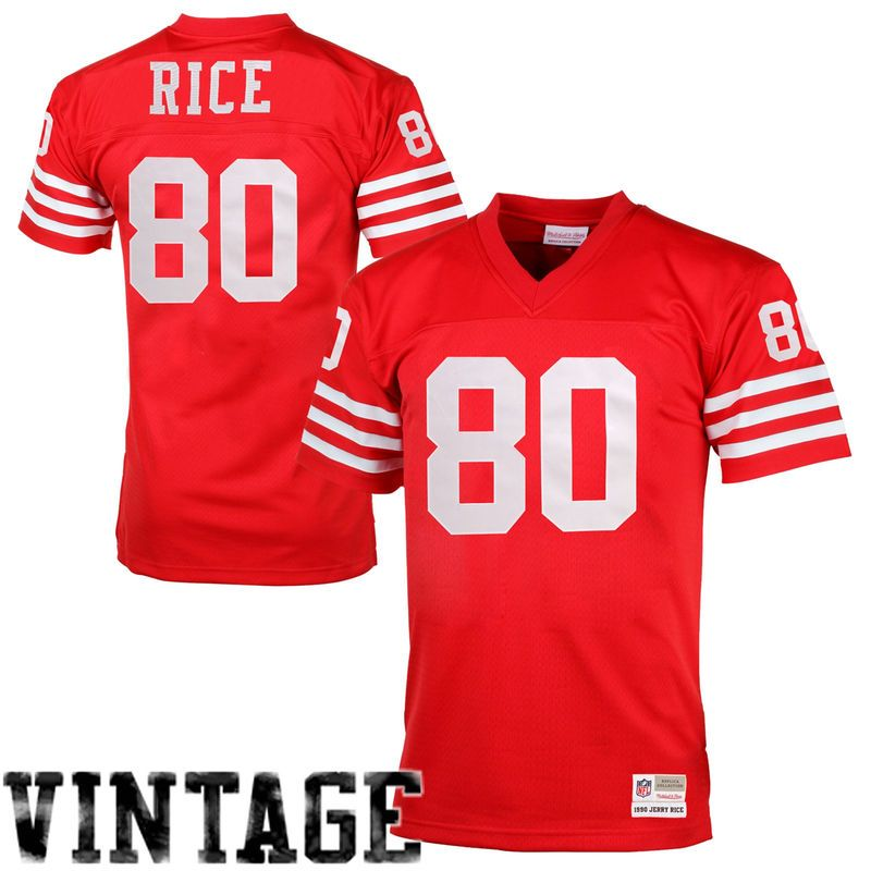 f9b4a2736 jerry rice san francisco 49ers mitchell ness retired player vintage replica  jersey scarlet