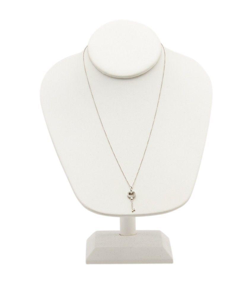 Tiffany & Co. 950 Diamond Heart Key Pendant Necklace