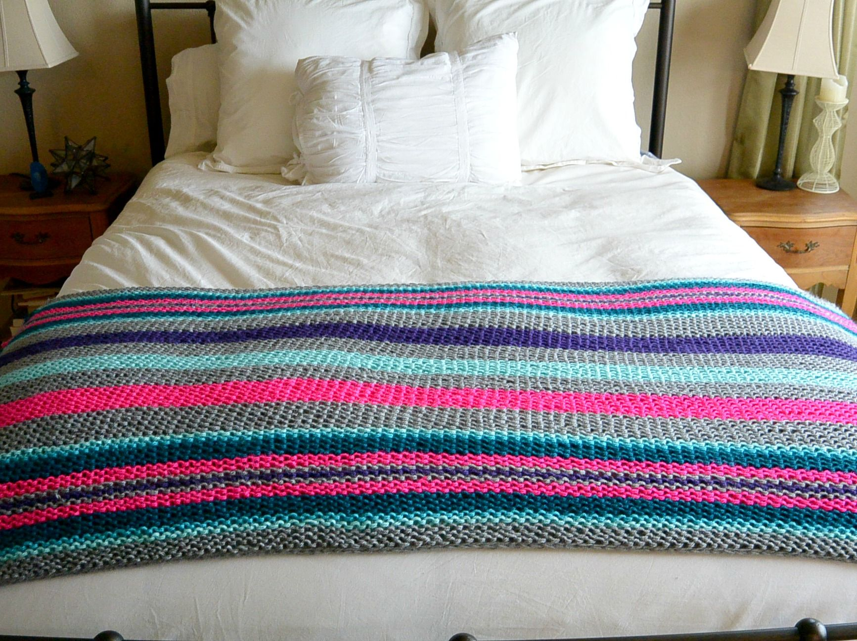 Easy Native Stripes Knit Blanket / Throw | Blanket, Knitted baby ...