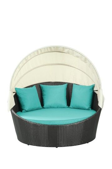Siesta Outdoor Wicker Patio Canopy Bed - Espresso/Turquoise by ...