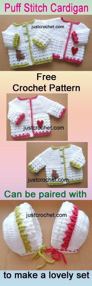 Free baby crochet pattern for preemie puff stitch cardi. #crochet ...