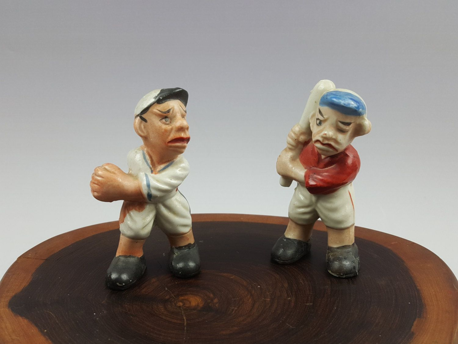 Vintage ugly baseball player figurines pitcher and batter made in Japan by CircularVintage on Etsy