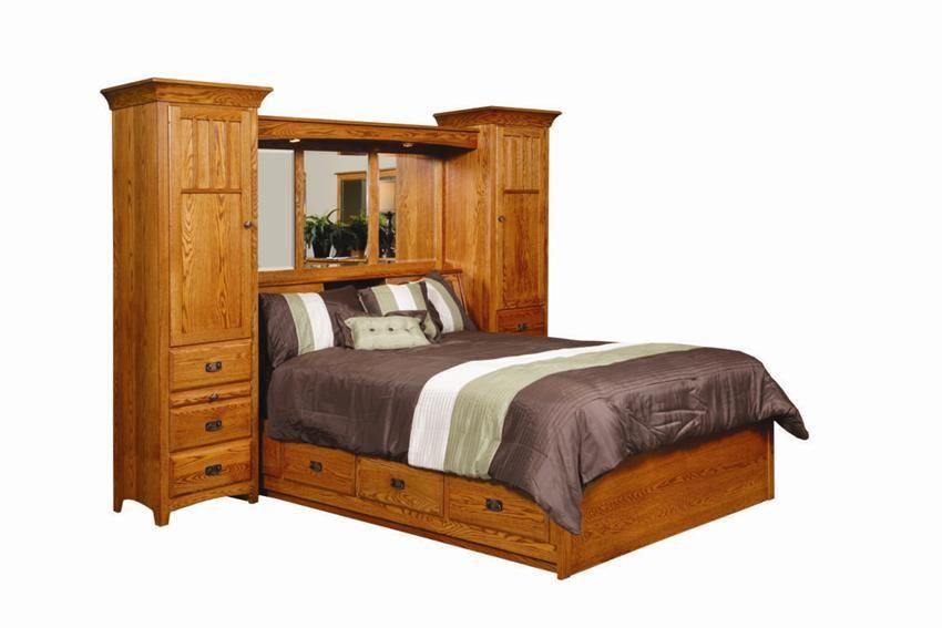 Amish Monterey Pier Wall Bed Unit With Platform Storage Base
