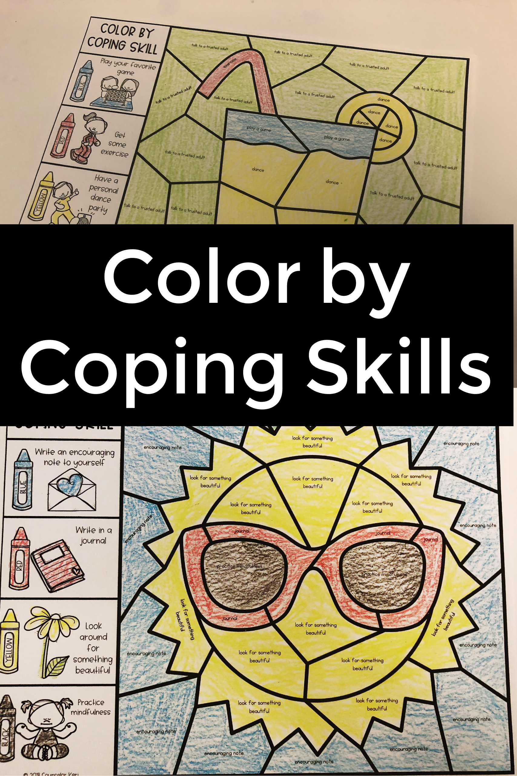 Color By Coping Skills Summer Activity For School
