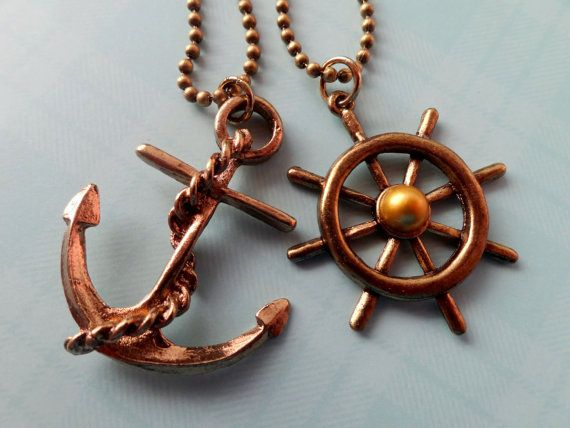 Anchor and Steering Wheel Necklaces. Couple Best Friends by Beadix, $9.50