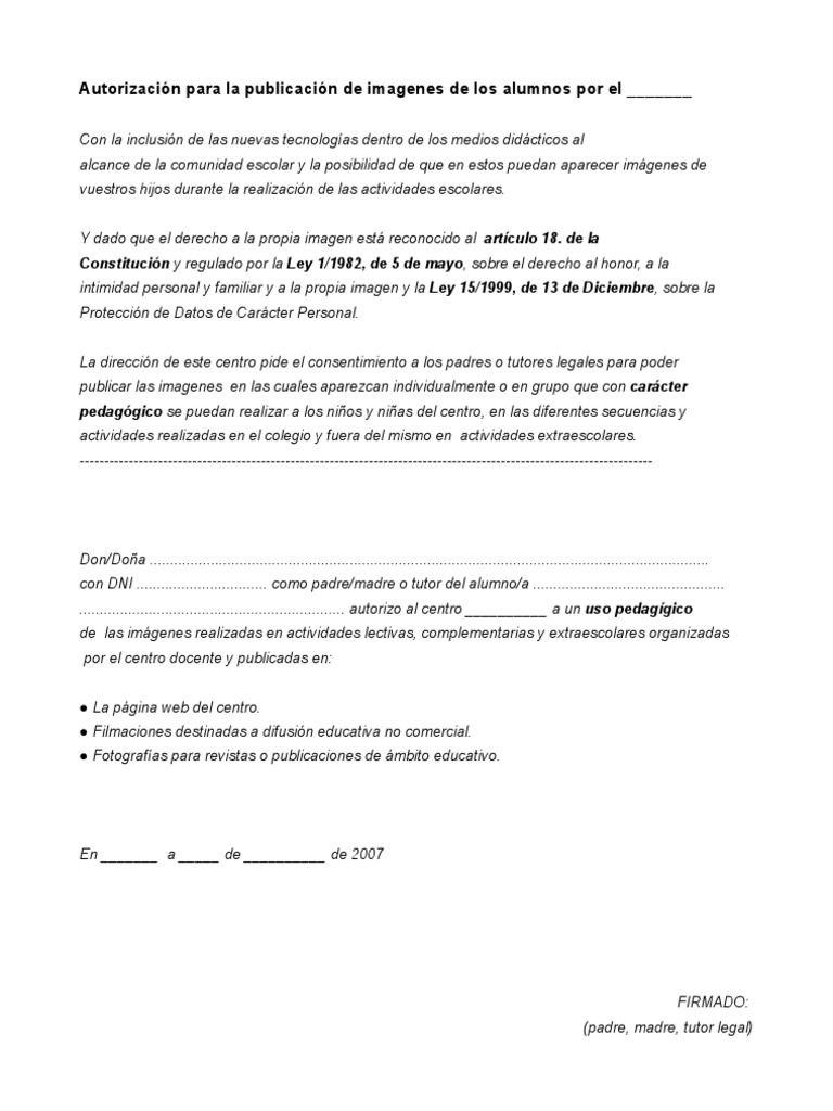 Modelo de autorización para el uso de imágenes de alumnos en la web, blogs, videos, etc del centro educativo segun la legislación vigente