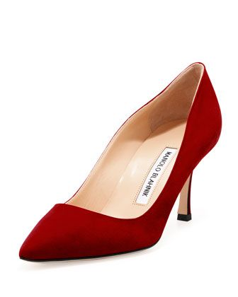 BB Suede 70mm Pump, Ruby  by Manolo Blahnik at Bergdorf Goodman.