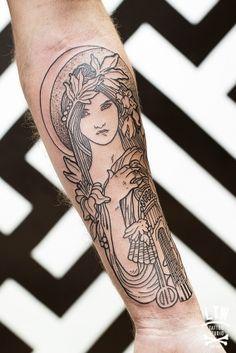 Art Nouveau Woman Tattoo Tattoo art deco style