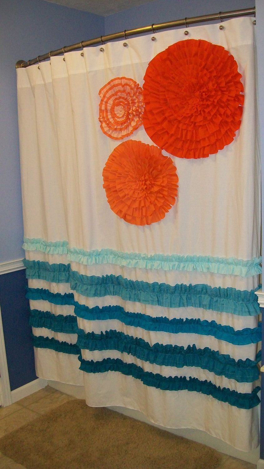 Solid teal shower curtain - Shower Curtain Custom Made Designer Fabric Ruffles And Flowers Peach Orange Tangerine Teal