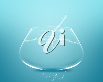 Royalty Free Photo of a Fishbowl with Water Splashing Out