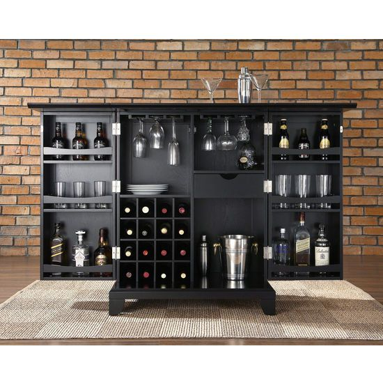 Newport Expandable Bar Cabinet By Crosley Furniture Constructed Of Solid Hardwood And Wood Veneers This