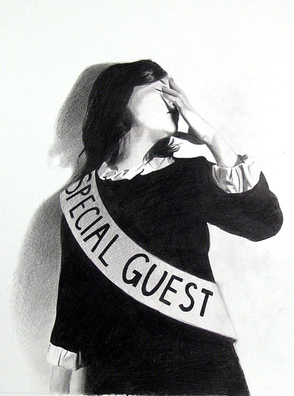 Special Guest, 2008, Black Pencil on Paper—Mercedes Helnwein