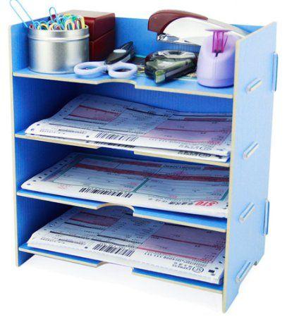 Menu Life Desk File Letter Trays File Desk File Storage Cabinet Box A5 Size (Light Blue)
