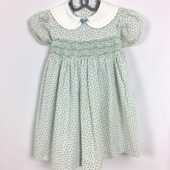 Green Floral Dress With White Ribbon Girls' Clothing (2-16 Years)