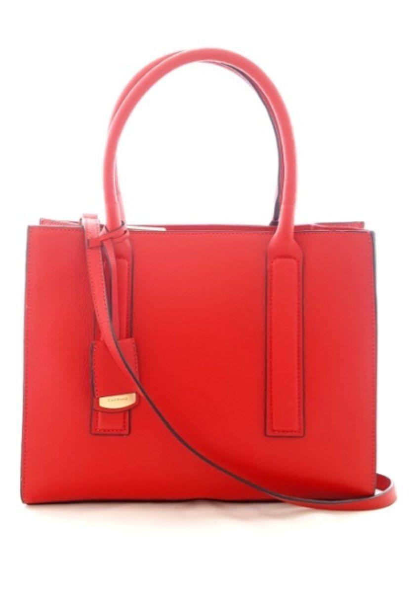 Bolso de mano en piel para mujer mediano con bandolera Carrano 800549 Rojo