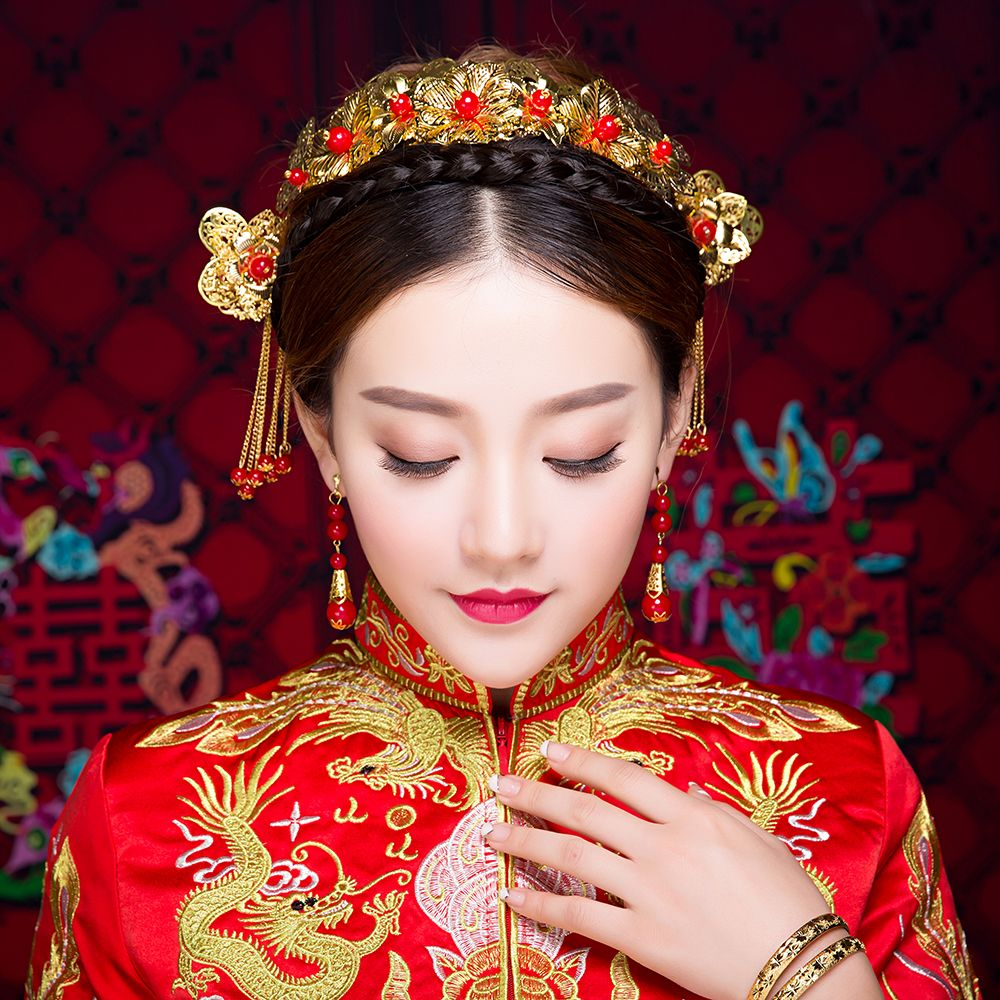 chinese traditional wedding headdress bridal hair