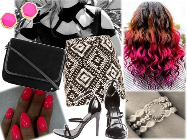 Party wear, black and white with neon pink accessories