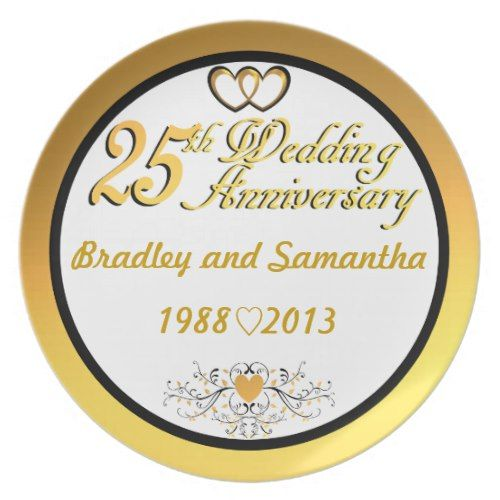 personalized names years 25th anniversary plate 25th