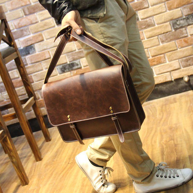 Vintage Men's Leather Business bag Briefcase Casual Messenger Shoulder Bags #UnbrandedGeneric