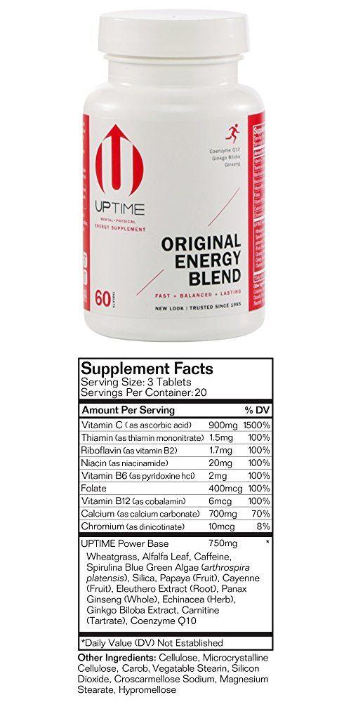 Uptime Energy Original Blend Tablets 60 Count Bottle Energy Tablet The Originals