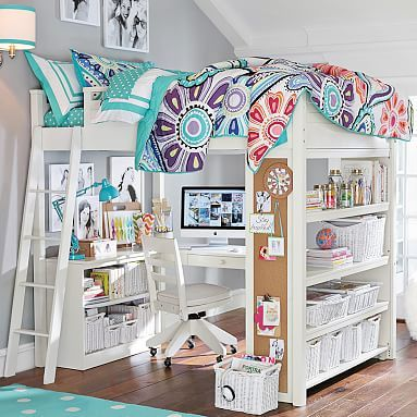 Sleep + Study® Loft For Savannah And All Her Crazy Amounts Of Stuff Have  This Bedding But Love The Bunk Bed Idea Of The Room