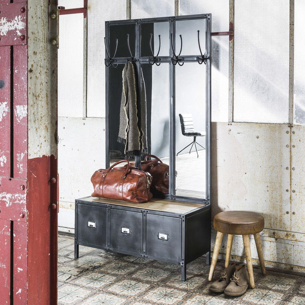 Metal Hallway Unit And Mirror Black Maisons Du Monde Meuble Entree Miroir En Metal Noir Miroir Industriel