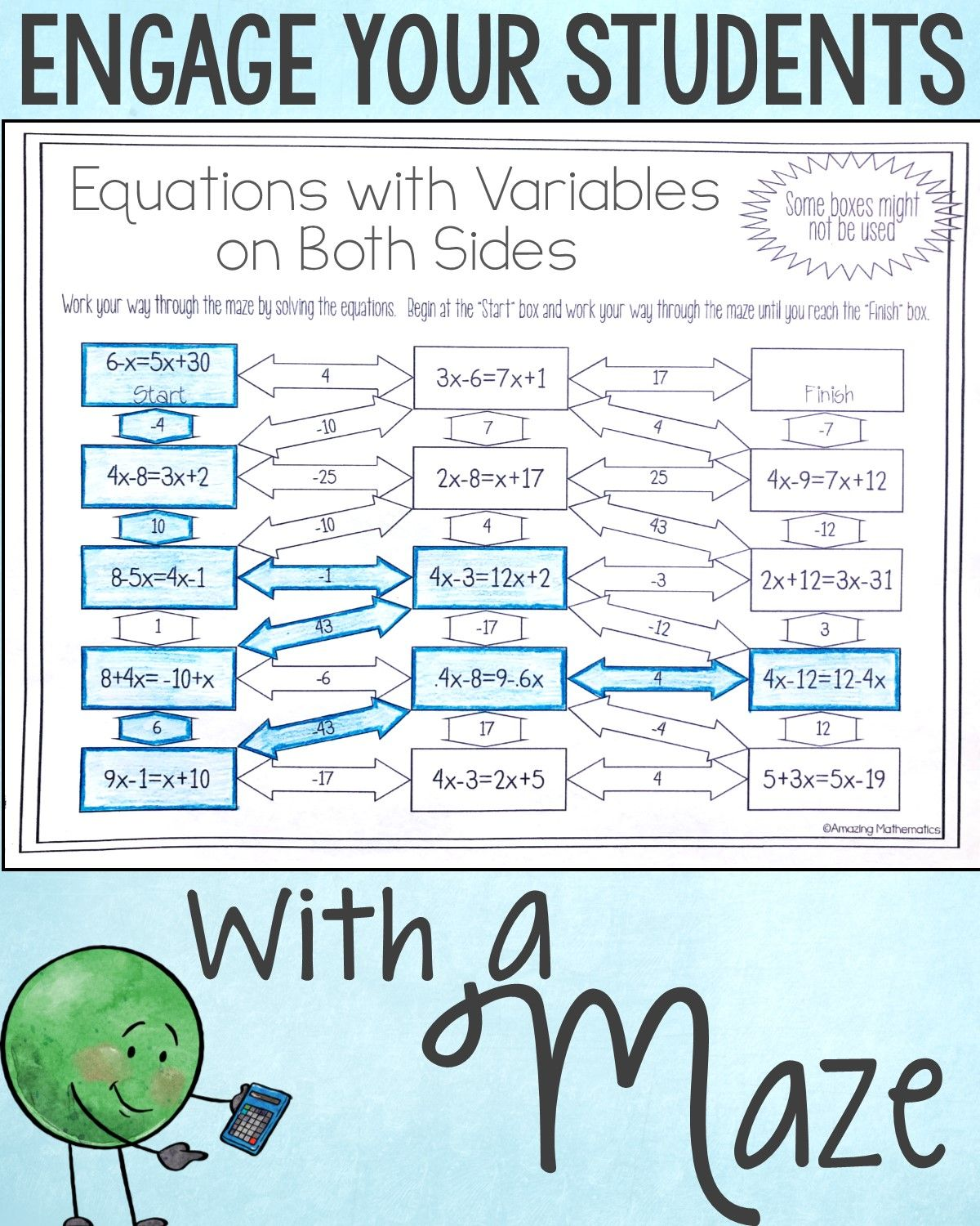 Solving Equations With Variables On Both Sides Worksheet Maze Activity Solving Equations Equations Math Word Problems