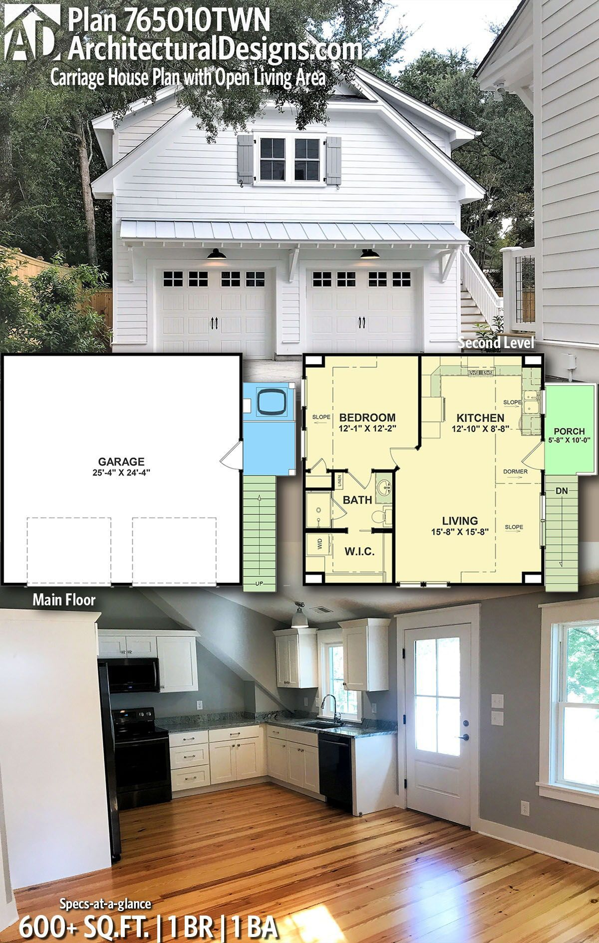 Plan 765010TWN: Carriage House Plan with Open Living Area #garageplans Architectural Designs Garage Plan 765010TWN gives you 1 bedrooms, 1 baths and 600+ sq. ft. Ready when you are! Where do YOU want to build? #765010TWN #adhouseplans #carraige #northwest #architecturaldesigns #houseplans #architecture #newhome #newconstruction #newhouse #homeplans #architecture #home #homesweethome